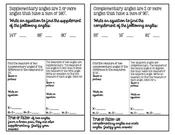 Complementary and Supplementary Angles with Equations Foldable Notes