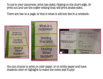 Dividing Fractions Foldable Notes