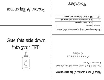 Powers and Exponents Foldable Notes