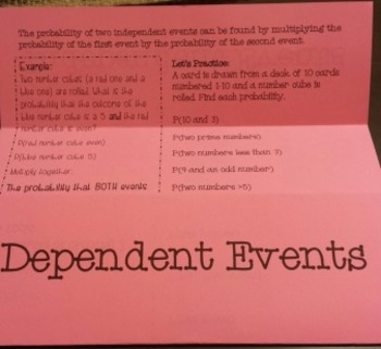 Probability of Independent and Dependent Events Foldable Notes