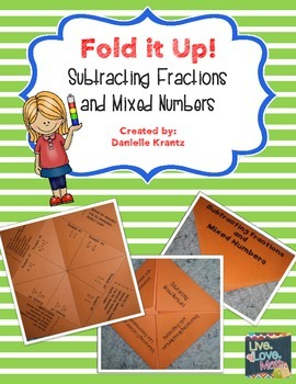 Subtracting Fractions Foldable Notes