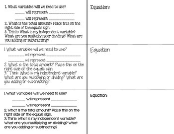 Writing and Solving Equations Foldable Notes