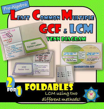 Foldabel LCM and Foldable Venn Diagram (LCM vs GCF)