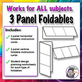 Middle School Foldables: 3 Panel Series - Horizontal & Vertical