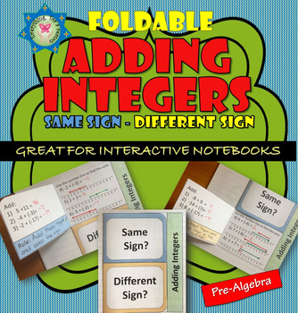 Foldable Adding Integers (same sign, and different sign)