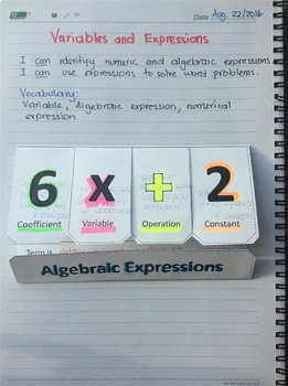 Foldable Algebraic Expressions (vocabulary)