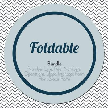Foldable Bundle: Number Line, Real Numbers, Operations, Slope Intercept Form...
