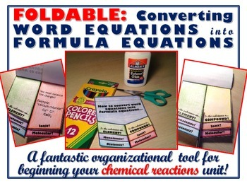 Foldable: Chemical Reactions - Converting Word Equations i