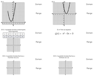 Foldable Domain and Range of Quadratic Functions from Multiple Representations
