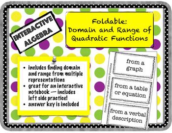 Foldable Domain and Range of Quadratic Functions