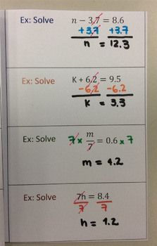 Foldable Equations with Decimals