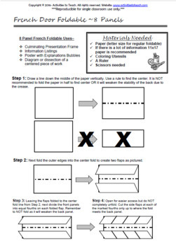 Foldable - French Door Vertical Series - Graphic Organizers