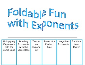 Exponents Foldable Fun