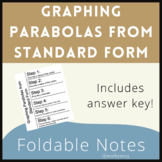Foldable - Graphing Parabolas from Standard Form