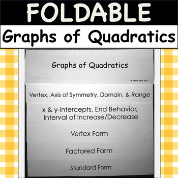 Foldable Graphs Of Quadratics Graph Vertex Factored Standard Form