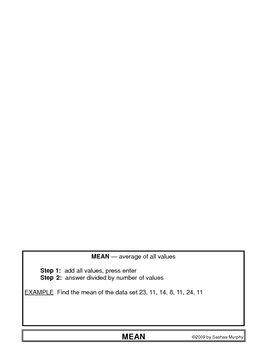 Foldable - Mean, Median, Mode, Range, Box Plot