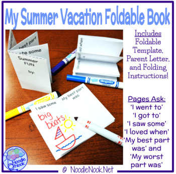 Foldable Mini Book for Summer Vacation for SpEd, Autism Units, and Early Elem