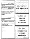 Foldable Note-Taking Guide Write & Solve Two-Step Equation