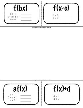 Foldable Notes: Transformations of the Absolute Value Parent Function