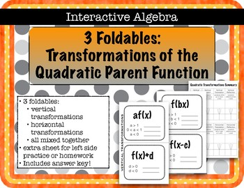 Foldable Notes Transformations of the Quadratic Parent Function