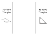 Foldable Notes for Special Right Triangles