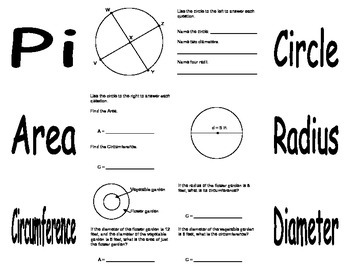 Foldable - Notes on Circles with Circumference and Area