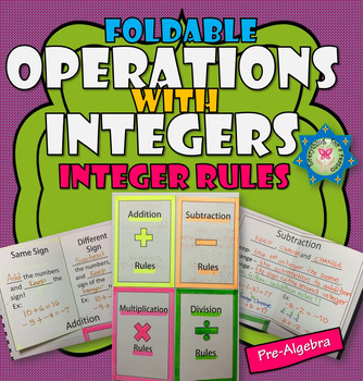 Foldable Operations with Integers/Integer Rules