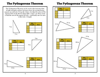 Foldable: Pythagorean Theorem Introduction (8th Grade Geometry, Common Core)