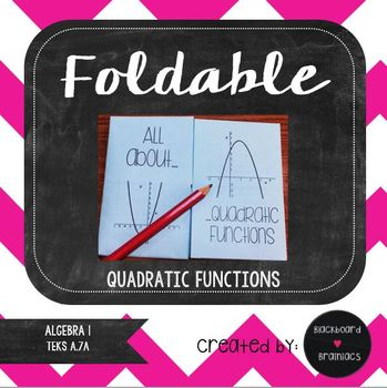 Foldable Quadratic Functions Review Key Features Interactive Notebook TEK A.7A