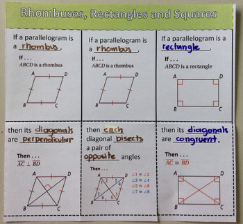Foldable Rhombuses, Rectangles and Squares
