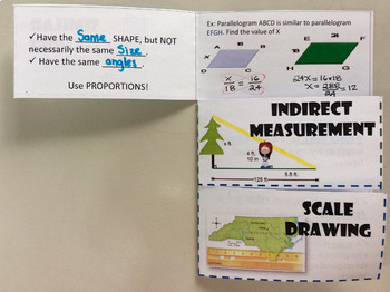 Foldable Similar Figures, Indirect Measurement and Scale Drawing