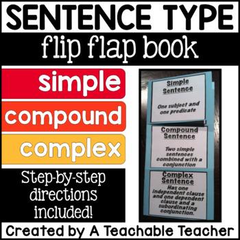 Simple, Compound, and Complex Sentence Flip Flap Book