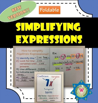 Foldable Simplifying Algebraic Expressions - Like Terms