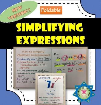 Foldable Simplifying Algebraic Expressions - Like Terms