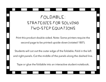 Foldable - Strategies for Solving Two-Step Equations