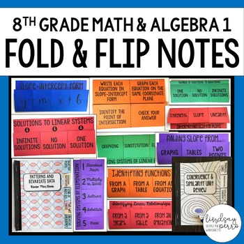 8th Grade Math and Algebra Foldable Style Notes