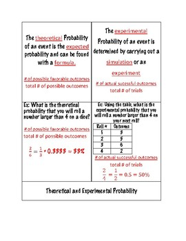 Foldable - Theoretical Vs Experimental Probability (with answer key)