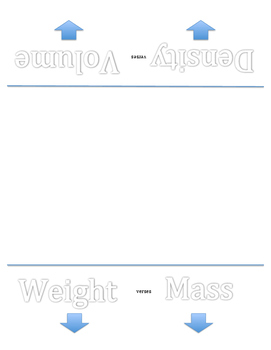 Foldable / Vocabulary Flip Book Density Volume Mass Weight