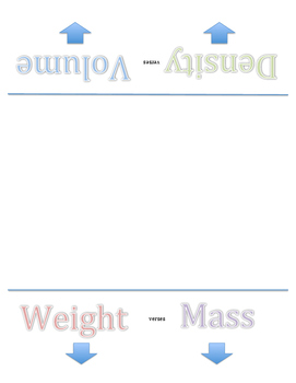 Foldable / Vocabulary Flip Book Density Volume Mass Weight Complete Info & Color