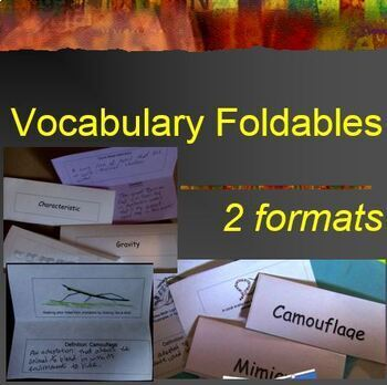 Foldable Vocabulary Template