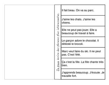 Foldable: Writing French Compound Sentences - Écrire des phrases plus longues