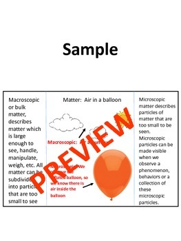 Foldable to Model Microscopic and Visible Matter- NGSS 5 PS1-1 (Editable)