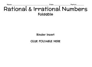 Foldable for Rational & Irrational Numbers