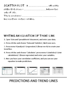 Foldable for Scatterplots and Trend Lines