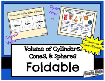 Foldable for Volume of Cylinders, Cones, & Spheres