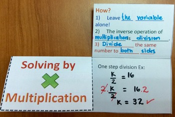 Foldable one-step equation by multiplying and dividing