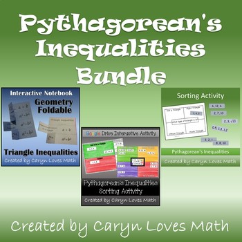 Pythagorean & Triangle Inequality Theorems~Right/Obtuse/Acute?~Foldable&Sort