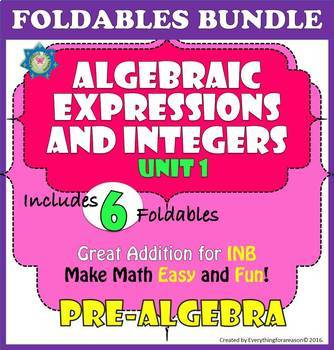 Foldables BOUNDLE - Unit 1. Algebraic Expressions and Integers