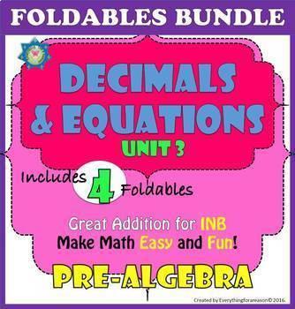 Foldables Bundle. Unit 3 Decimals and Equations