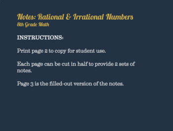 Foldables and Notes: Rational and Irrational Numbers (8th Grade Math)